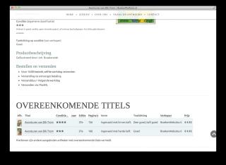 Overeenkomende titels op productpagina